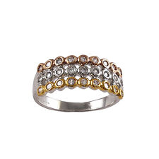 Tri Color Three Row Sterling Silver Gold & Rose Gold Plated CZ Ring Size 7
