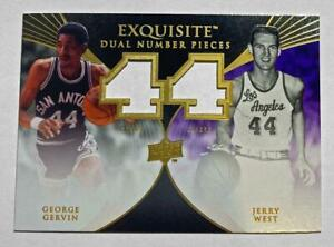 2007-08 Exquisite Dual Number Pieces Hand Cut Proof George Gervin Jerry West