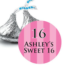 108 Sweet 16 Hot Pink Personalized Hershey Kiss Stickers Party Favors