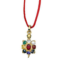 Multicolour Navaratna Tortoise Navratan kachua Pendant for Prosperity and Wealth