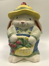 Vintage Treasure Craft Bunny Rabbit Cookie Jar Easter Basket Tulips EX+