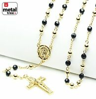 """14k Gold Plated 6mm Bead Guadalupe & Jesus Cross 28"""" Rosary Necklace HR 600 GGBK"""