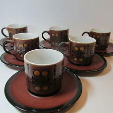 Vintage Retro 1960s Stoneware 6 piece Coffee Cup Set Japan Mid Century Modern