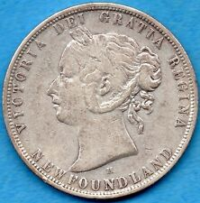 Canada Newfoundland 1876 H 50 Cents Fifty Cents Silver Coin - Fine+ (cleaned)