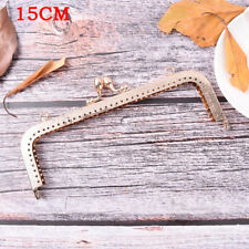 Light Gold DIY Purse Handbag Handle Coin Bag Metal Kiss Clasp Lock Framehandleat 15cm