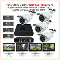 KIT PROFESSIONALE DVR 4 Canali IBRIDO + 4 TELECAMERE AHD 720P  + 4 Alim. G