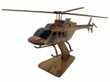 Bell 407 Jet Ranger Air Evac EMS Mahogany Wood Wooden Aviation Helicopter Model