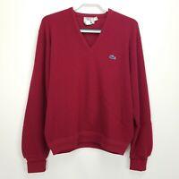 Vintage Men's Izod Lacoste Sweater Size L Burgundy V Neck Long Sleeve