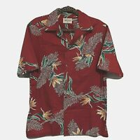 """Royal Palm Mens Shirt S S Red Hawaiian Size M 45"""" Chest Bird of Paradise Flowers"""