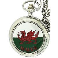 Boxx Gents Cymru Welsh Wales Pocket Watch On 12 Inch Chain Boxx239