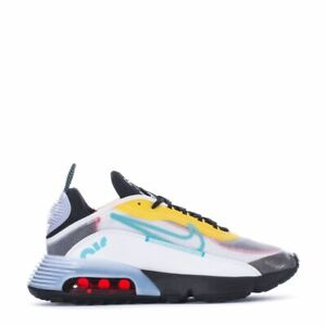 Men Nike AIR MAX 2090 CT1091-100 White/Bleached Aqua/Black/Speed Yellow Shoes w1
