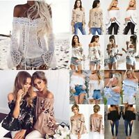 Fashion Women's Summer Boho Off Shoulder Casual Shirts Loose Blouse T-Shirt Tops