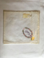 Monogrammed Handkerchief with purple letter Y in floral wreath. new in packet