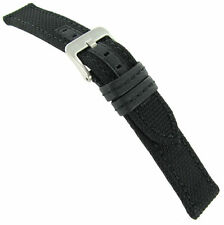 20mm Hadley Roma Black Genuine Kevlar Same Color Stitching Mens Watch Band MS848