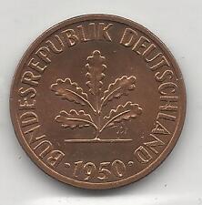 GERMANY, WEST, 1950-J, 1 PFENNIG, COPPER PLATED STEEL, KM#105, B.U.
