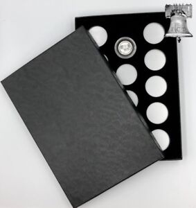 Air-tite Coin Holder Box Silver Insert Black Ring + Model A Storage Capsule Case