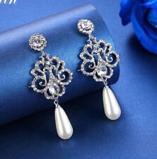 18K WHITE GOLD PLATED PEARL & CUBIC ZIRCONIA LONG DANGLE STATEMENT EARRINGS