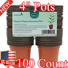 100 Pcs New Plastic Nursery Pots 4 Inch Garden Plant Flower Seedlings Seed Pot