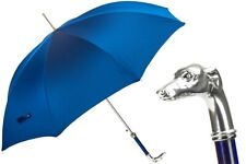 PASOTTI BLUE UMBRELLA, SILVER GREYHOUND HANDLE 478 OXF-8 W39PB NEW