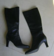 Black Leather Boots -  Size 7. 3.5 Inch Heel