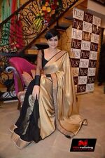 BEAUTIFUL BOLLYWOOD  DESIGNER PARTY WEAR GOLDEN & BLACK  COLOR  SAREE