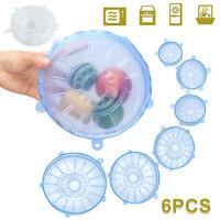 6pcs Silicone Wraps Seal Bowl Covers Kitchen Food Saving Storage Stretch Lids