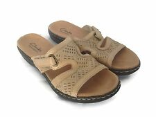 CLARKS BENDABLES Beige Leather Cutout Design Slide Summer Sandals Size 6.5 M