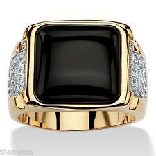 MENS 14K YELLOW GOLD BLACK ONYX CZ GP CABOCHON RING SIZE 8,9,10,11,12,13,
