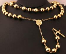 Men's Gold Heavy Stainless steel 8mm Ball Jesus Cross Rosary Necklace Chain 30''