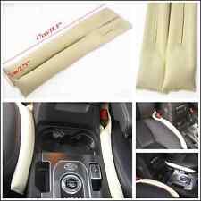 Beige Artificial Leather Car Seat Gap Filler Soft Pad Stop Blocker Beige Holster