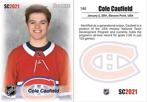 2021 SC #146 Cole Caufield white RC rookie Montreal Canadiens