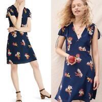 Madewell Cactus Flower Dress Silk Short Sleeve V Neck Floral Navy Blue Size 12