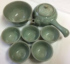 Celadon Yokode Kyusu Crackle Glaze Japanese Teapot Set Teapot Cups Yuzamashi
