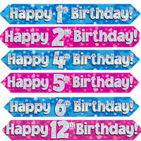 Age Birthday Party Banner Party Decoration 1st - 70th Boy Girl Pink Blue