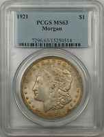 1921 Morgan Silver Dollar $1 Coin PCGS MS-63 Light Toning (BR-27 F)