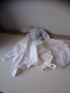 Doudou plat lapin bleu lange blanc sac Jellycat état neuf