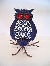BLUE METAL OWL VOTIVE CANDLE HALLOWEEN TRICK TREAT DECORATION FALL AUTUMN