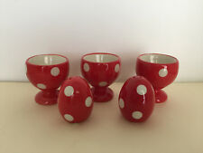 POLKA DOT EGG CUPS (3) MATCHING EGG SALT & PEPPER SHAKERS - RED WITH WHITE DOTS