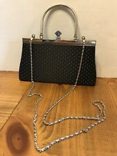 Black Purse With Silver Chain And Detail