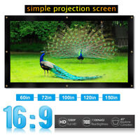 "150"" 16:9 3D Foldable Projector Screen Home Theater Projection Cinema Movies Lot"