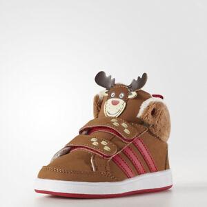 New Adidas Neo Hoops Animal REINDEER Mid Shoe Infant Toddler Size 4