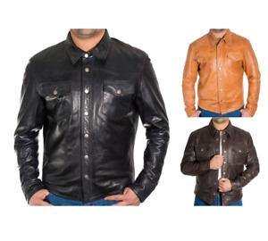 Mens Leather Shirt Style Western Trucker Jacket Black, Tan and Dark Brown