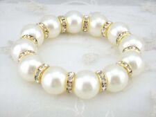 White shell Pearl Gold Crystal Rhinestone Bead Stretch Jewelry Bracelet PB9