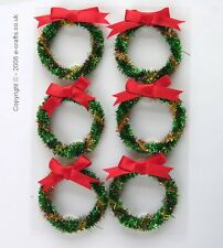 6 Christmas Tinsel Wreaths, Xmas crafts, cardmaking Fairy Doors, Dolls Houses