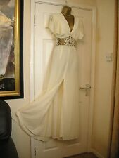 16 JARLO RICH CREAM MAXI DRESS SHEER LACE INSERT WAIST BRIDESMAID WEDDING SUMMER