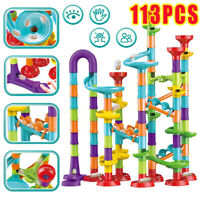 113Pcs Construction DIY Building Blocks Maze Race Run Track Marble Ball Kids Toy