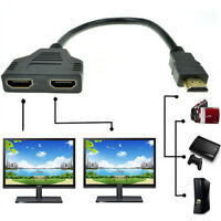 1080P HDMI Port Male to 2 Female 1 In 2 Out Splitter Cable Adapter Converter SL