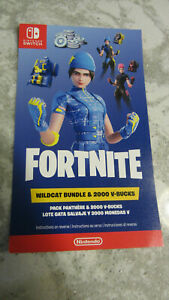 Fortnite Wildcat Code plus 2,000 V-Bucks Unscratched Card Only