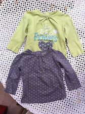 Lot de deux pull T 12 mois / 1 an fille kimbaloo gris /vert anis  coeur coton BE