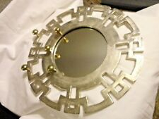 """Decorative Wall Mirror 12"""" Round Brush-Metal Silver Tone Frame with Hooks"""